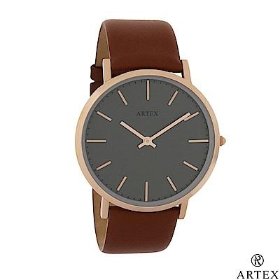 ARTEX Style真皮手錶 褐/玫瑰金