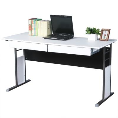 Homelike 巧思辦公桌 炫灰系列-白色仿馬鞍皮140cm(附二抽屜)