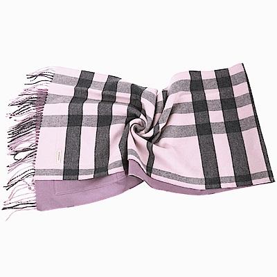 BURBERRY 雙面兩用喀什米爾粉紫色格紋羊毛披肩