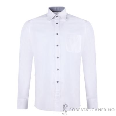 ROBERTA諾貝達 進口素材 台灣製 合身版 商務長袖襯衫 白色