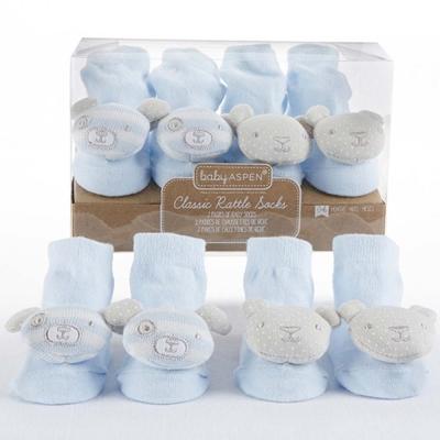 Baby Aspen 小狗小熊藍色嬰兒襪2件彌月禮盒組