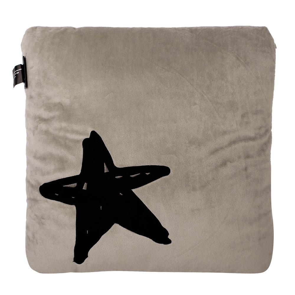 agnes b. logo星星圖案方型抱枕-米灰