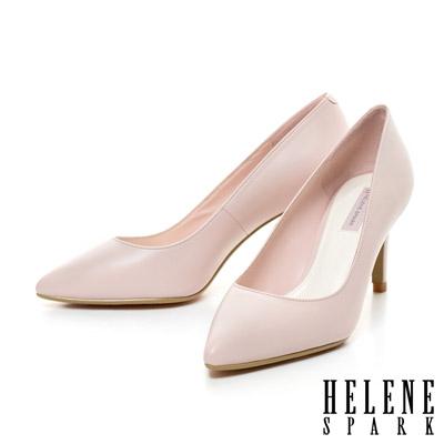 HELENE-SPARK-經典美型時尚尖頭素面羊皮高跟鞋-粉