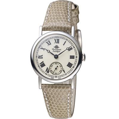 Rosemont 玫瑰錶 玫瑰米蘭系列小秒針女錶-白x褐色錶帶/28mm