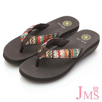JMS-彩色圖騰編織麻繩編織夾腳海灘拖-橘紅色