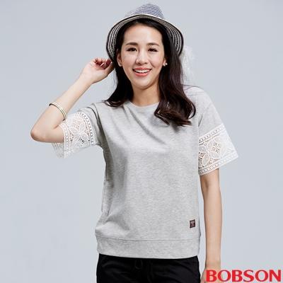 BOBSON 女款花紋圖騰蕾絲袖上衣