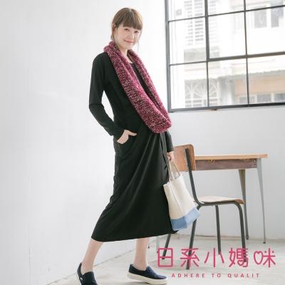 日系小媽咪孕婦裝-台灣製哺乳衣-純色單口袋腰抽繩洋裝-共四色