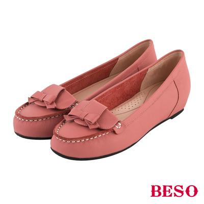 BESO 永恆優雅 蝴蝶結內增高全真皮平底鞋~粉紅