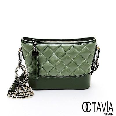 OCTAVIA 8 真皮 - 搖滾名媛 菱格牛皮雙色雙鍊肩斜二用包 - 青青綠