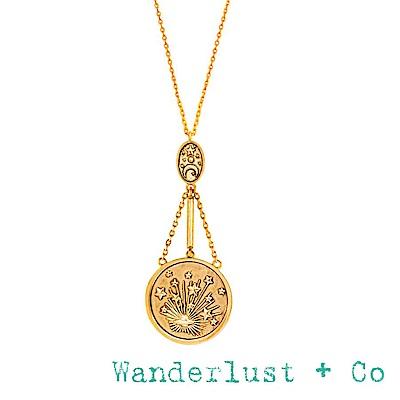 Wanderlust+Co 澳洲品牌 閃耀銀河星系垂墜式項鍊 金色 GALAXY