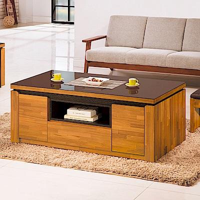 AS-潔妮玻璃面大茶几(附二腳椅)-133.3x66.6x53cm