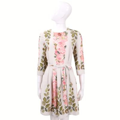 BLUGIRL 米色印花綁帶七分袖洋裝