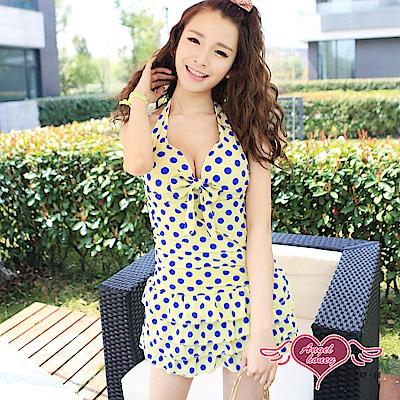 泳衣 檸檬夏日 一件式圓點連身泳裝(黃M.XL) AngelHoney天使霓裳
