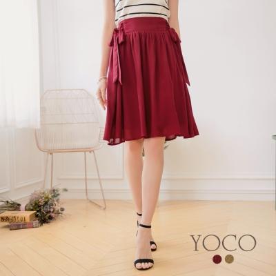 東京著衣-yoco 法式輕甜休閒側綁蝴蝶結中長裙-S.M.L(共二色)
