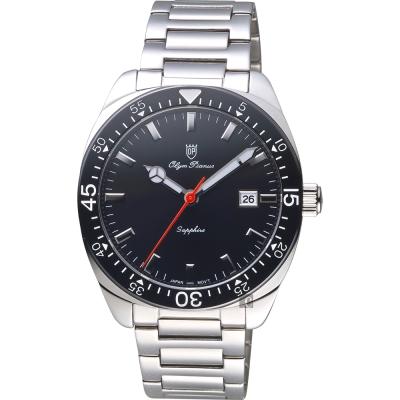 Olympianus 奧柏 復刻時尚手錶-黑x銀/40mm