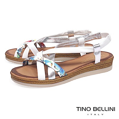 Tino Bellini 西班牙進口熱帶花叢坡跟涼鞋_ 白+銀
