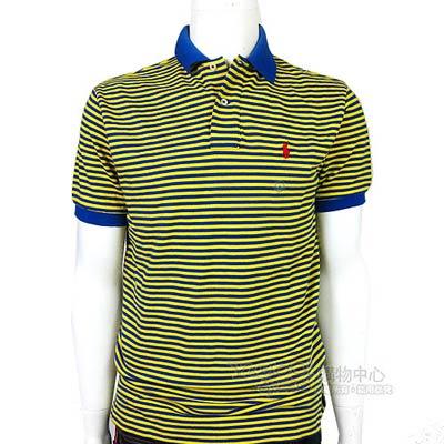Ralph Lauren 雙色細條紋POLO男衫(藍黃)