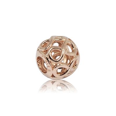 Pandora 潘朵拉 圓形鏤空無限 玫瑰金純銀墜飾 串珠