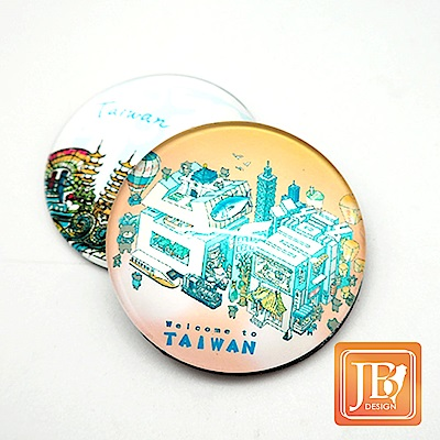 JB DESIGN-文創玻璃磁鐵-696_粉台灣文字