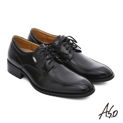 A.S.O 輕旅健步 小牛皮綁帶奈米紳士皮鞋 黑色