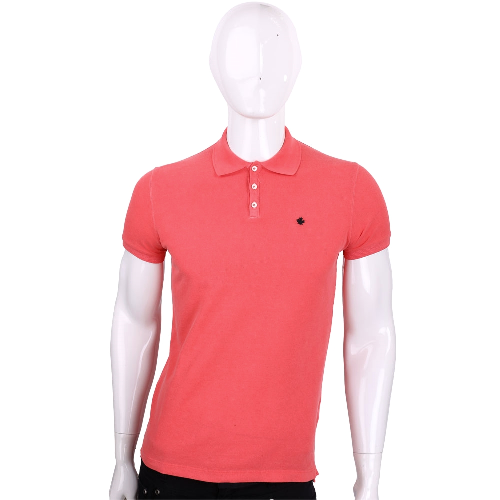 DSQUARED2 橘紅素面棉質短袖POLO衫