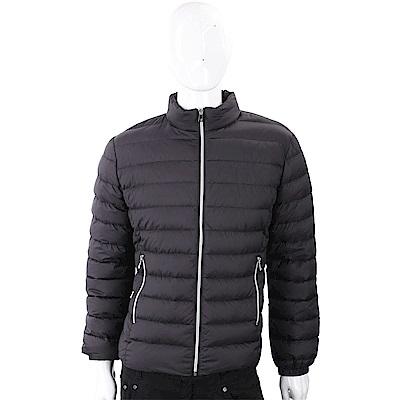 TRUSSARDI  經典皮革標黑色絎縫拉鍊輕羽絨夾克