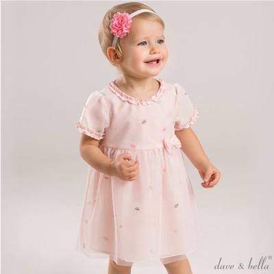 Dave Bella 洋裝粉色刺繡樹葉短袖洋裝