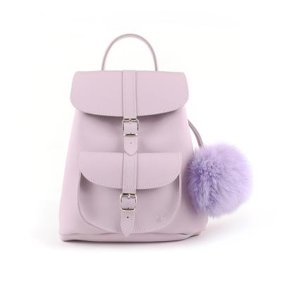 GRAFEA英國品牌 粉紫色手工真皮毛球後背包