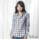 Victoria 格紋基本長袖襯衫-女-白底黑格
