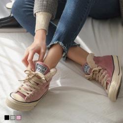 韓國翻領毛絨內鋪毛高筒休閒鞋