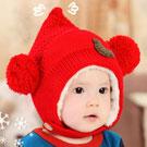 iSFun 精靈球球 刷毛保暖固定護耳帽 紅