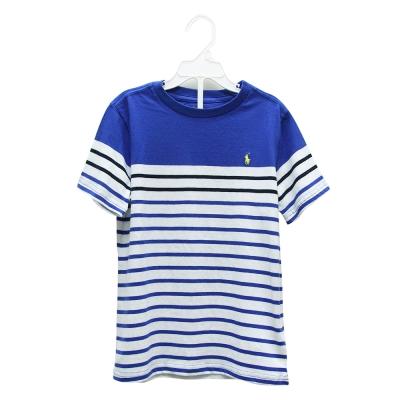 Ralph Lauren 經典小馬休閒條紋短袖t恤-藍/白