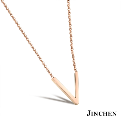 JINCHEN 白鋼V字項鍊