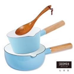 仙德曼 SADOMAIN  琺瑯牛奶鍋(藍)+琺瑯雪平鍋(藍)+原木手工菜匙-三件組