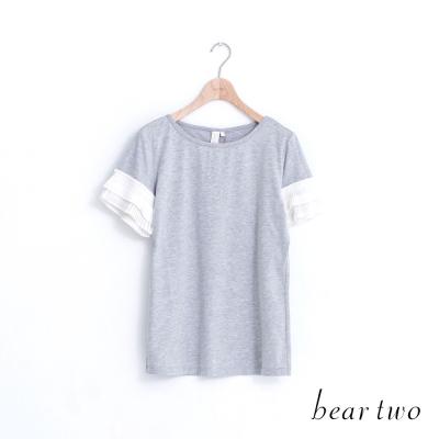 beartwo 素面拼接百摺雪紡造型袖上衣(三色)