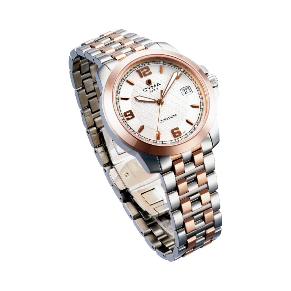 CYMA司馬 極簡三針半金機械錶