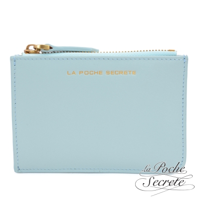 La Poche Secrete真皮 簡約真皮實用卡夾零錢包-天空藍