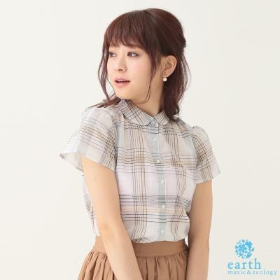 earth music&ecology 小圓領透膚感格紋襯衫