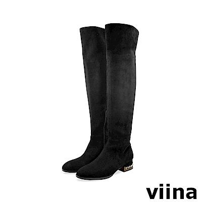 viina 完美比例-鞋跟鋼珠彈力絨布過膝長靴