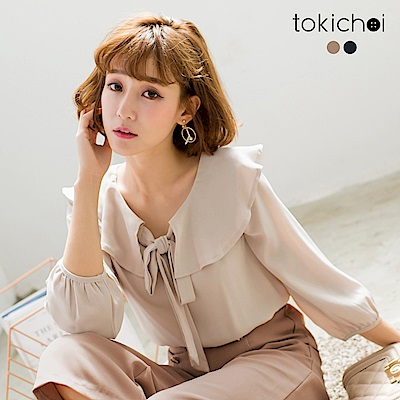 東京著衣 簡約氣質荷葉領綁帶上衣-S.M(共二色)