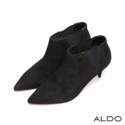 ALDO-復古俐落拼接鬆緊帶細跟麂皮踝靴-尊爵黑色