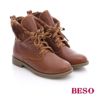 BESO 潮人街頭風  羊皮綁帶舖毛短筒軍靴  咖非色