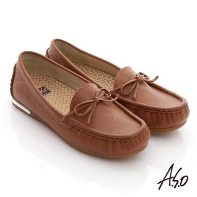 A.S.O 縫線耐走 全牛皮細帶蝴蝶平底鞋 咖啡