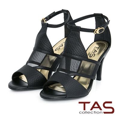 TAS-透視網紗鏤空踝繫帶高跟鞋-時尚黑