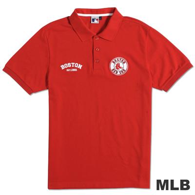 MLB-波士頓紅襪隊貼布繡隊徽POLO衫-紅(男)