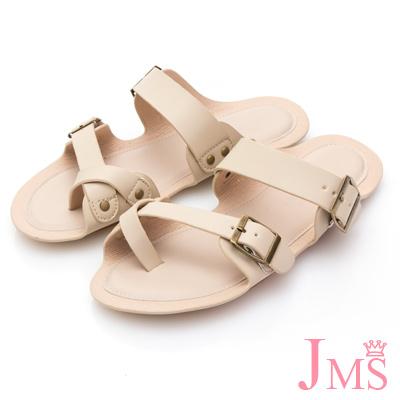 JMS-出遊必備舒適皮革夾腳平底拖鞋-米色