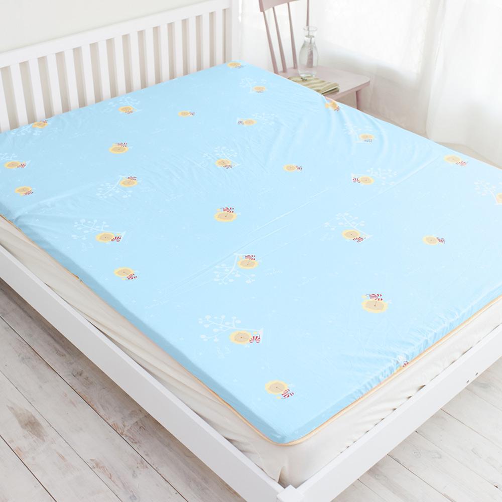 奶油獅 天然竹青純棉高磅數透氣床墊(水藍)- 單人加大3.5尺