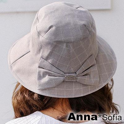 AnnaSofia 虛線方格蝶結 棉麻遮陽防曬寬簷漁夫帽(灰系)