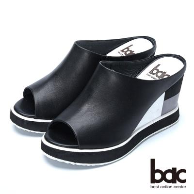 bac時尚甜心 典雅魚口厚底拖鞋-黑