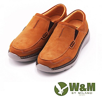 W&M 舒適休閒直套式真皮 男鞋-棕(另有鐵灰)